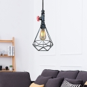 Industrial Valve Pendants Lighting Steel 1-Light Hanging Pipe Lights with Diamond Cage Shade