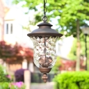 Dark Gray Lantern Pendant Light 3 Heads Antique Style Dimple Glass Chandelier for Outdoor