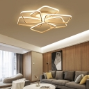 White Square Semi Flush Ceiling Light Modern Acrylic Ceiling Light Fixture for Living Room