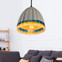 Contemporary Cement Pendant Single Dome Pendant Light with Edison Bulb over Kitchen Island