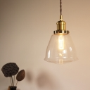 Vintage Industrial Dome Hung Pendant 1-Light HandBlown Glass Pendant Light for Restaurant