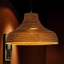Asian Domed Pendant Light Fittings 1 Light Corrugated Paper Pendant for Dining Room