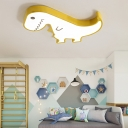 Metal Dinosaur Flush Mount Lighting Cartoon Led Kids Room Ceiling Light Fixture