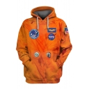 New Fashion Orange NASA Logo Pattern Long Sleeve Sport Casual Pullover Hoodie