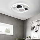 Living Room LED Circle Flush Mount Acrylic Shade Black and White Ceiling Lamp in Contemporary Style