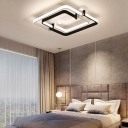 LED Geometric Ceiling Flush Light Nordic Metal Flush Mount Ceiling Lamp in Black/White