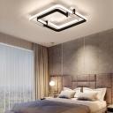 LED Geometric Ceiling Flush Light Nordic Metal Flush Mount Ceiling Lamp in Black/White