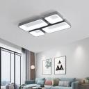 Nordic Rectangular Ceiling Mount Light Fixture Acrylic Flush Mount Lighting in Gray/White