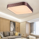 Modern Squared Flush Mount Fixture Lamp Acrylic LED Brown Ceiling Light for Bedroom