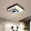 Indoor Square Ceiling Light Acrylic LED Modern Black and White Flush Mount Fixture