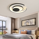 Living Room Circle Ceiling Light Acrylic LED Contemporary Black Flush Mount Fixture