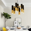 LED Tube Hanging Chandelier Modernism Black and Brass Pendant Light with Metal Shade