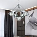 Mirrored Glass Globe Chandelier Light 7 Lights Modernism Pendant Light in Polished Chrome