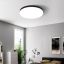 Black Drum Ceiling Light with Opal Acrylic Shade Integrated LED Nordic Flush Mount Lighting