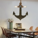Bare Bulb Pendant Lamps Coastal Metal 2-Light Anchor Ceiling Pendant Light with Rope for Restaurant