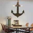 Bare Bulb Pendant Lamps Coastal Metal 2-Light Anchor Ceiling Pendant Light with Rope for Restaurant