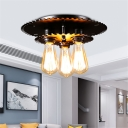 Black Gear Flush Light Industrial Iron 3 Light Bare Bulb Flush Mount Light for Bedroom Living Room