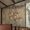Rope Island-Light Country Bamboo 4/8 Light Open Bulb Island Pendant for Kitchen Dining