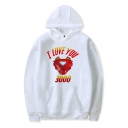 Fashion Iron Letter I Love You 3000 Printed Casual Sport Pullover Hoodie