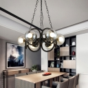 Contemporary Ring Chandelier Light Metal 6-Light Hanging Lights with Global Glass Shade for Restaurant