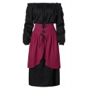Fashion Cosplay Off Shoulder Frill Long Sleeve Lace-Up Corset Waist Midi Dress
