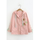 Lovely Bear And Avocado Embroidered Long Sleeve Bow Tie Cuff Button Down Hooded Jacket