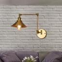 Brass Sconce Light Fixture Loft Industrial Metal 1 Bulb Swing Arm Sconce Lights for Hall