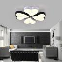 Modernism Clover Ceiling Flush Light Black and White Led Metal Flushmount with Diffuser