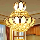 Lotus Pendant Chandelier French Country Crystal Sparkling Ceiling Pendant for Kitchen Dining