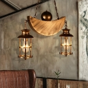 2 Light Moon Hanging Pendant for Kitchen Dining, Antique Metal Caged Island Lighting with Chain