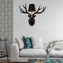 Loft Empire Shade Wall Lighting with Resin Deer 1 Light Fabric Wall Mount Light