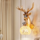 Global Crackled Glass Wall Lighting with Golden Deer Loft Rustic 1 Light Sconce Light