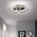 Black Twisted Flush Mount Light with Heart Design Metal 2-LED Indoor Ceiling Light