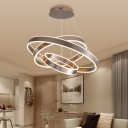 Brown Ring Pendant Lighting Modern 1/2/3 Light Led Metal Ceiling Chandelier for Foyer