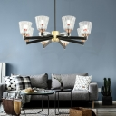 Cone Chandelier Light Retro Iron Glass Ceiling Chandelier in Black with Copper for Living Room
