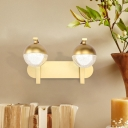 Gold Orb Sconce Light Fixture Modern Metal Acrylic 2 Heads Sconce Wall Lights for Corridor Hallway
