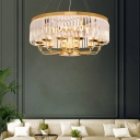 12 Light Drum Hanging Ceiling Lights Modern Crystal and Metal Pendant Lights for Living Room