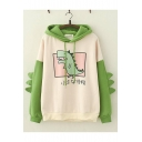 Cute Dinosaur Letter Printed Color Block Long Sleeve Dinosaur Shape Apricot Hoodie