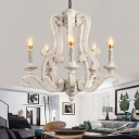 French Country Chandelier Lighting with Candle Solid Wood 5 Lights Pendant Lamp in Distressed White