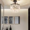2-Tier Crystal Fringe Semi-Flush Mount Modern Iron 1 Head Ceiling Light Fixtures in Black for Corridor