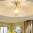 Gold Semi Flush Light Modern Crystal Iron 3 Light Semi Flush Mount Light for Corridor Hallway