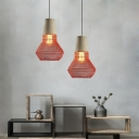1 Light Wire Pendant Lighting Metal and Cement Nordic Suspension Light for Corridor