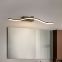 Slim Wave Wall Vanity Light Modern Metallic Led Bathroom Wall Light Over Mirror