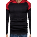 Men's New Trendy Long Sleeve Colorblock Print Fitted Casual Pullover Drawstring Hoodie