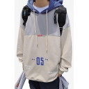 Guys New Stylish Letter 05 Printed Colorblock Long Sleeve Casual Loose Hoodie