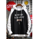 Trendy Letter ARE YOU READY TO PLAY WITH ME Printed Stripe Side Colorblock Long Sleeve Casual Pullover Hoodie