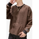 Mens New Stylish Letter Embroidered Long Sleeve Round Neck Plush Sweatshirt with Pocket