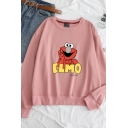 ELMO Letter Cartoon Animal Printed Round Neck  Long Sleeve Loose Sweatshirt