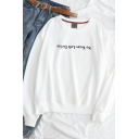 Simple NOT TEARS LEFT TO CRY Letter Round Neck Long Sleeve Sweatshirt