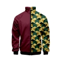 Mens 3D Geometry Print Long Sleeve Zip Up Jacket